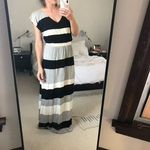 Striped Knit Maxi Dress with Elastic Waist, Size S